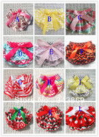 Wholesale New Style Baby Satin Bloomers Infant Girls Boys skirts Ruffle Shorts with Ribbon Bow Kids Underwear diaper covers Size