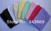 Wholesale Solid Color Kids Crochet Headbands Hairbands inch waffle string elastic hair bands girl tutu tops and tubes