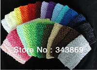 elastic crochet - Mixed Color Kids Elastic Headbands Hairbands Baby inch Crochet Tutu Tube Infant Waffle String Top