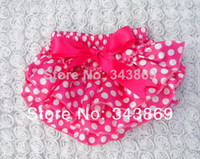 Wholesale Cute Baby Girls Bloomers Hot Pink Polka Dots Satin Ruffle Layer Shorts Christmas Underwear Diaper Covers
