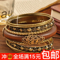 Bangle Alloy / Silver / Gold 4530 nine sets 4530 European and American style retro jewelry factory wholesale carved wooden bracelet women bangle bracelet multilayer