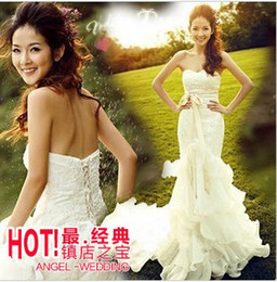 Wholesale 2014 Beach Wedding Dresses New arrival fashion brand special lace silk Angel sweety princess fishtail trailing wedding dresses