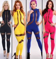 Wholesale 2014 New Fashion Summer Hot Sexy Women Cut Out Patchwork Bodycon Bandage Dress Backless Celebrity Club Jumpsuits Clubwear Party bodysuit
