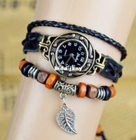 Wholesale Women Leaf Pendant Vintage Quartz Watch Wood Bead Bracelet Watches Dress watches Leaves Retro Casual Wrist watch
