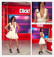 Reference Images V-Neck Chiffon Cheap Little White Dresses Deep V Neck Sheer Tulle Open Back Homecoming Dresses Lace Bottom Graduation Dresses Sexy Cocktail Party Dresses