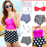 Wholesale Details about zilian High Waisted Vintage Push Up Bandeau Bikini Set Sexy Swimsuit Swimwear