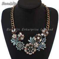 bijoux - 2014 Fashion Chain Necklace Chunky Choker Luxury Statement Flower Women Pendant Necklaces Brand Bijoux Jewelry CE1885