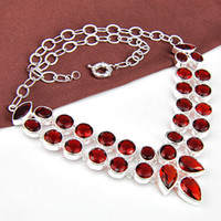 Wholesale N0535 High Quality Fashion necklace for party Particular Fire Drop garnet Crystal stone Silver Chain Necklaces Party Wedding