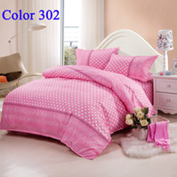 Wholesale Pink With White Dot Bedding Set Fashion Bedclothes Bedding sets Comfortor set Bed Sheet Duvet cover Home decor Fit m Bed Mixed color