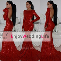 long backless dress - 2014 Sexy New Red Long Sleeves Sequins Mermaid Evening Dresses Backless Floor Length Prom Gowns BO5567