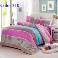 Silk / Cotton Knitted Home Wholesale Stripe Bedding Sets Brand Fashion Bedding Set Pillow case Bedsheet Bed set Home Textile Bedclothes Duvet cover Bedsheet Hotsaling