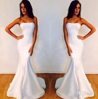 2014 white strapless prom dresses Satin Mermaid Strapless Sl...