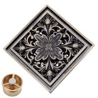 Wholesale European Style Vintage Art Carved Bathroom Shower Square Drain Floor Trap With Strainer Cover x100mm