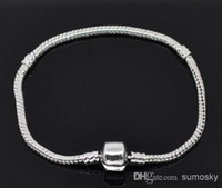 Wholesale 3mm cm Length Sterling Silver Plated Snake Chain Bracelet Fit European Beads With