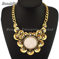 Cheap 2014 Charm Items Vintage Jewelry Fashion Accessories Statement Resins Flower Pendant Necklace Gold and Silver Colors CE1792