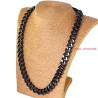 Wholesale Cool Men s Jewelry L stainless steel Huge Cuban curb link Necklace mm Heavy Black plated