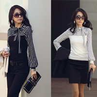 Women Cotton blend  Round Korean Fashion Women Lady Ladies Slim T-Shirt Puff Long Sleeve Polo Neck Stripe Tops Black White G0472
