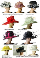dress hats - WIDE BRIM wedding church dress sinamay hat kentucky derby hat in mix style and colors BY EMS