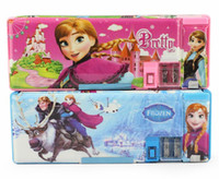 Wholesale 1405L children frozen new multi functional pencil case Cartoon plastic pen boxes