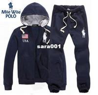 Wholesale 2014 Moleton Polo Men s Zipper cardigan Sport s Tracks Hoodies Fashion s set Pants Sportswear sweatshirt