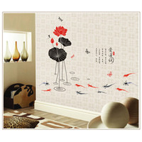Wholesale Home Decor Wall Sticker Wall Art Paper Mural Decal Lotus Living Room Decoration Stickers Rooms Decals DIY Removable H10320