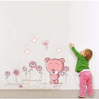 Wholesale Pink Bear Wall Sticker Nursery Girl Baby Kids Children Bedroom Art Decal Adesivo De Parede DIY Home Decoration Decals Stickers H10318