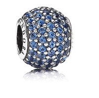 Wholesale Sparkling Cubic Zircon Paved Sterling Silver Round Charm European Bead For Pandora Bracelet