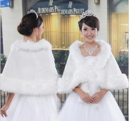 Wholesale 2014 Best Selling New Cheap White Faux Fur Shrug Cape Stole Bridal Wraps With Shawl Wedding Bridal Accessories Hot Sale
