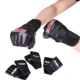 Wholesale 2014 New PU Leather MMA Half Mitts Mitten Boxing Gloves Muay Thai Training Kick Gloves Boxing Golden Red White H10557