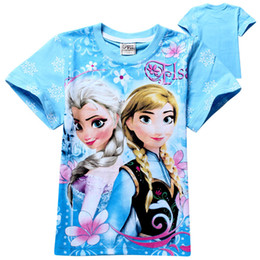Wholesale New Frozen Girls T shirts baby Summer Cartoon Frozen Princess clothing children s short sleeve t shirts baby cotton clothes