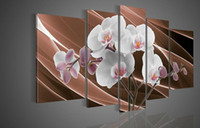 Oil Painting white flower oil - 100 Hand painted Brown background Flash pure white flowers landscape Oil Painting canvas5pcs set