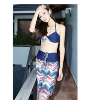 Women Shorts Print sun store ! Bandeau Swimwear Hot Springs Bathing Suit Bikini skirt three-piece Set Gather Swimwear
