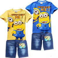 Wholesale new Brand Minions Children Clothing Sets Despicable Me boys suits Summer Wear Include Short sleeve T shirts pants