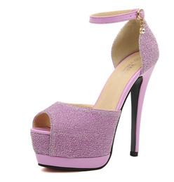 Promotion taille 34 talon rose Glitter rose argent chaussures de mariage talon aiguille talon plateforme femmes sexy talon haut chaussures rose bleu taille 34 à 39
