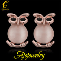 Wholesale New Fashion Accessories Tin Alloy Real K Rose Gold Plated Opal Owl Earrings Stud For Women