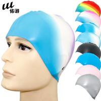 Wholesale Quality waterproof silica gel swimming cap spa swimming cap ear male female