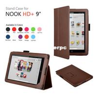 Cheap Folio Leather cover case for For Barnes&Noble Nook HD + 9 inch tablet pc leather case