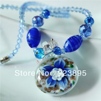Wholesale LLN005 beautiful heavy handcraft blue flower lampwork glass necklace with plastic crystal beads