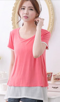 Wholesale Hot Summer clothes for pregnant women Breastfeeding Tops T shirt Maternity Nursing Top Maternidade