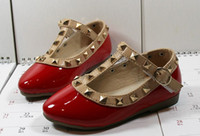 Girl Summer Leather 2014 Elegant Rivet Princess Patent Leather Kids Low-heeled Children Shoes Girls Wedge Sandals 3 Colors