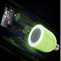 Wholesale 2014 New arrival Wireless Bluetooth Speaker with LED Light Bulb With RF Remote Control and Changable LED lamp E27