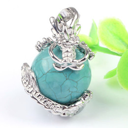 wholesale 10pcs Charm Silver Plated Natural Different Stone Crystal Stone Inlay Dragon Round Beads Pendant For Necklace