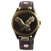Fashion Unisex Quartz-Battery 3pcs lot Eagle Design Metal Cover Men Boy Women Girl Leather Band Wrist Watches TM1649