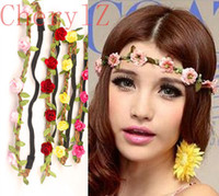 Wholesale Bohemian Flower Headband Summer Beach headbands Bride Festival Wedding Floral Garland Hair Band Hair Accessories C1257