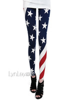 Women american flag leggings plus size - W ZXS Hot Selling Fashion Women Ninth Pants American Flag Stars Slim Plus Size S XL Leggings WD31