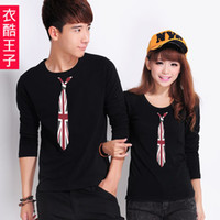 Wholesale Prince qlz lovers summer cool clothes long sleeve crew neck tie for men and women spring new Korean male couple t shirts