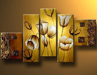 Cheap free shipping 5 panel canvas art modern Living Room Decorative Painting Modern Huge Picture Paint Print Art Romance Flower Wall, HH027