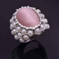 Band Rings Trendy Women's New Arrive Opal Pearl Imitate Women Fashion Band Rings Finger Wedding Bridal Finger Ring Jewelry Free Shipping