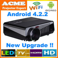 Wholesale 4500lumens Android Projector Full HD LED Daytime Projector LCD D Wifi smart projector Proyector with W led lamp over hs life