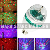 Wholesale Christmas party lights RGB full color W E27 LED Bulb Crystal Auto Rotating Stage lighting DJ disco light